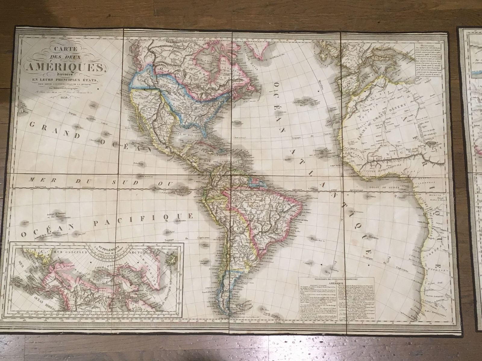 Only Known surviving Copy  -  Carte des deux Ameriques